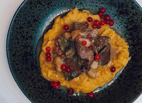 tallerken med potetmos, viltgryte og tyttebær