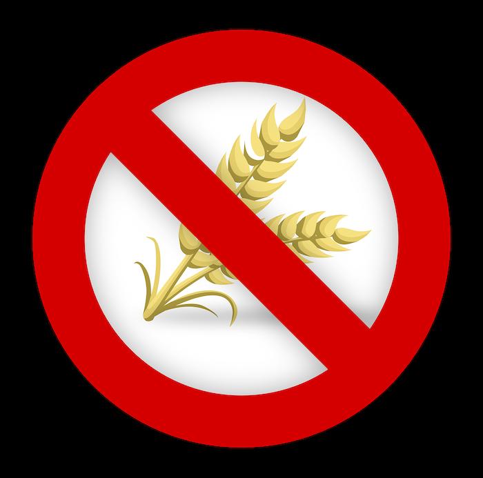 korn med rød strek over, illustrerer intoleranse og cøliaki